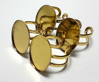 4 of 25x18 mm Antique Gold Modern Sturdy Adjustable Ring Settings, Very Nice