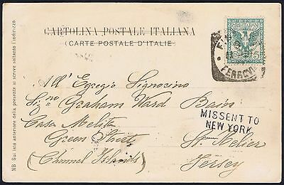 1901 Florence Italy to JERSEY but MISSENT TO NEW YORK !