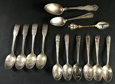 Lot of Vintage Antique Souvenir Spoons Enamel Presidents & More