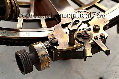 Antique Brass Marine Sextant Collectible Maritime Ship Instrument W/ Wooden Box