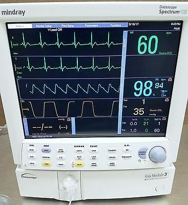 Mindray / Datascope Spectrum OR Patient Monitor, Gas Module 3, Printer, CO2
