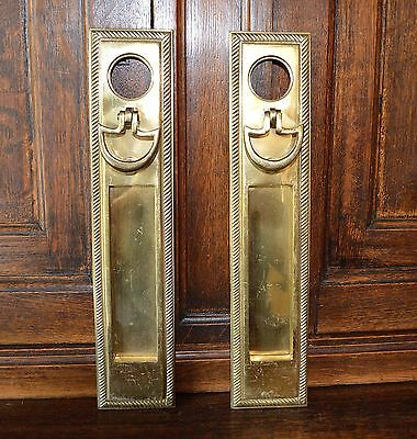 One Antique Brass Door Mount Mail Box Slot Knocker Knob Handle Backplate in One