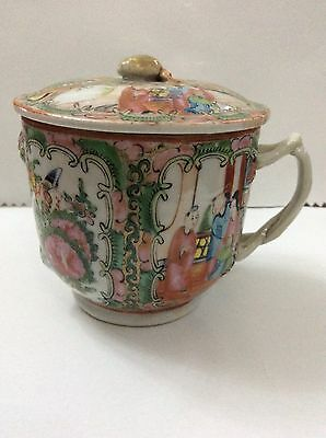 Antique Chinese Famille Rose Gilded Mug With Lid,Large Cup With Lid