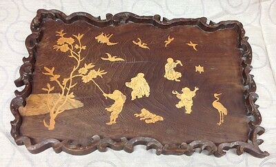Oriental Carved Inlaid Tray