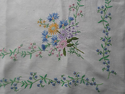 "Vintage hand embroidered linen Table cloth 32"" / 82cm square, forget me nots"