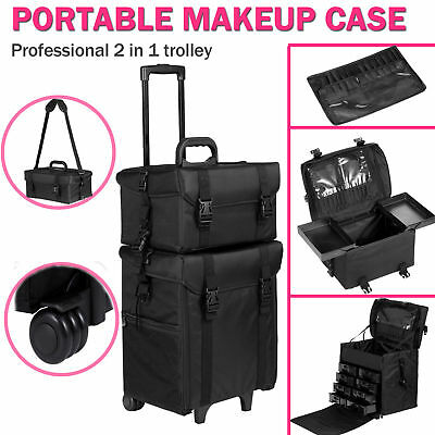 Beauty Makeup Vanity Case Cosmetic Storage Trolley Rolling Hairdressing Nail Bag
