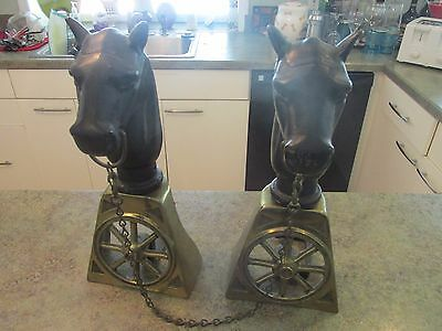 Vintage Cast Iron & Brass Horse Head Carriage Wheel Fireplace Andirons ~ Rare