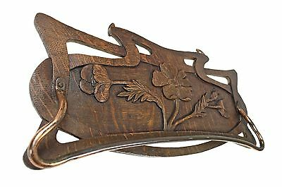 Antique Art Nouveau Reticulated and Carved Oak Towel Rack, French.