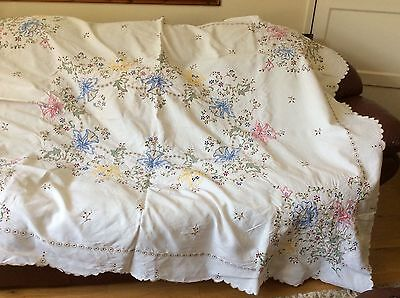 Very Large vintage hand embroidered linen tablecloth
