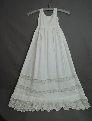 Antique Baby Christening Slip Victorian 1800s Cotton & Lace, 18in chest Vintage