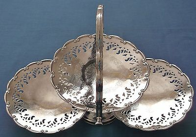 Vintage Silver Plated Filigree 3 Tier Folding Cake Stand Wedding Party Cake Bake