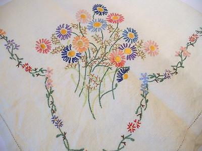 "Stunning Vintage Hand Embroidered Irish Linen Tablecloth 32"" x 32"" - Floral Deta"