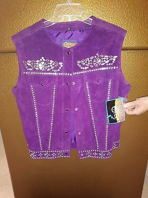 Cripple Creek Purple Suede Vest with Rhinestones. New with Tags. Size Medium