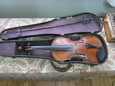 Antique German Violin Geigenbauer Markneukirchen With Mop Bow & Case