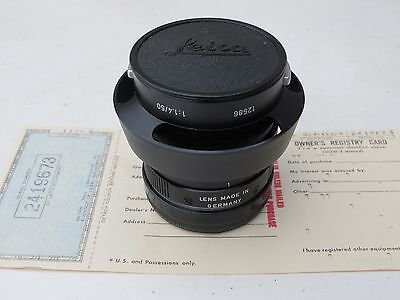 "Leica M 50mm f:1.4 black Summilux E43 lens with 12586 lens hood MINT ""LQQK"""