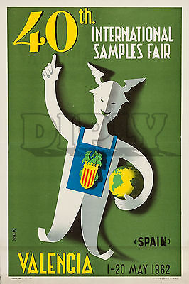 Repro Deco Affiche Valencia International Samples Fair Sur Papier 190 Ou 310 G