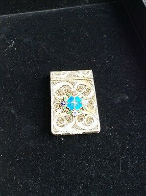 Antique Chinese Gold wash silver Enamel filigree card case box