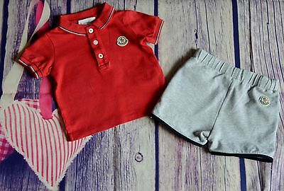 Moncler Baby Boys Designer Clothes Bundle Polo & Shorts 6-9 Months Small Fitting
