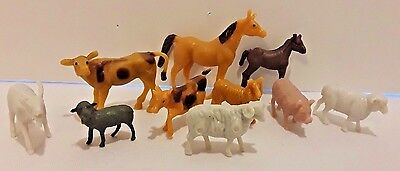 "Farm Animal Figure Toy Play-Set Horse Cow Pig Sheep Goat Plastic 10 Piece 1""-3"""