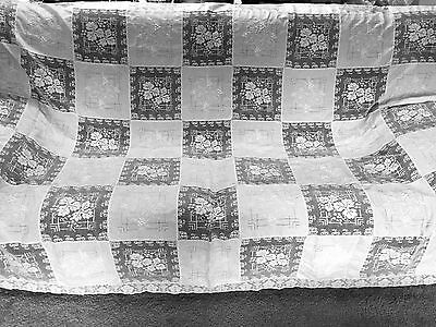 VTG Wedding White Embroidered Cotton Lace Crochet Tablecloth 68 x 84 bedspread .