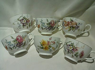 ANTIQUE ROYAL WORCESTER FLORAL CUPS x 6 1891