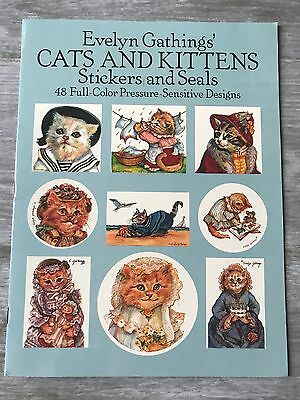RARE 48 Vtg 1988 Cats and Kittens Stickers and Seals Evelyn Gathings' Dover
