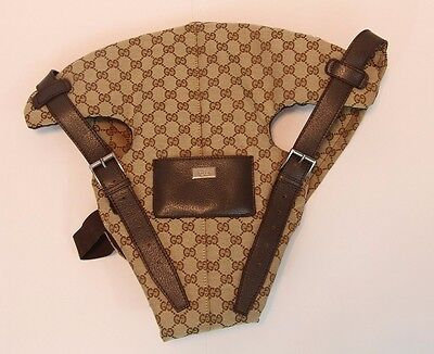 Authentic Gucci Baby Carrier Brown Leather 002122 28550