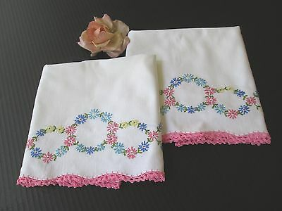 Pair Vintage White Cotton Pillowcases Hand Embroidered.flowers W/pink Trim ..