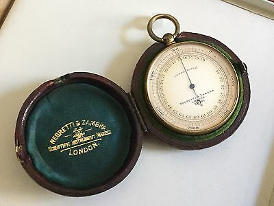 Antique Negretti & Zambra Gilt Brass Leather Cased Compensated Pocket Barometer