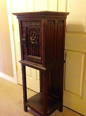 Antique Ornate French Carved Oak Gothic Cabinet Religious Arched Wine