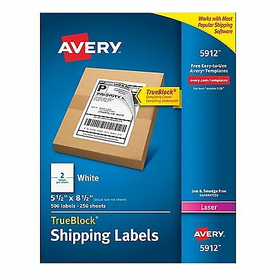 "NEW Avery Internet Shipping Labels 5-1/2"" x 8-1/2"", Laser, Box of 500 (5912)"
