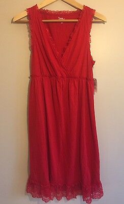 NWT Bump in the Night Maternity Nursing Nightgown Red Lace Medium M New