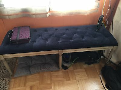 Wood and Velvet Bench Blue Gently used