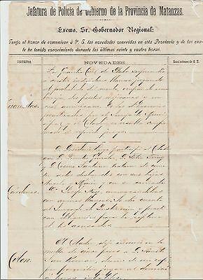 1892 Old Spanish POLICE Document  4 WHITE MEN Arrested Playing Monte June 1