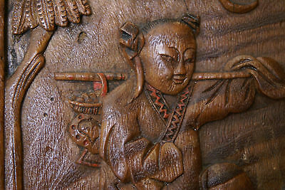 Antique Chinese Privacy Screen Room Divider Hinged Qing Zhejiang Wood Carving
