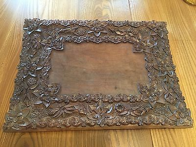Antique Sandalwood Ornate Hand Carved Tray From India