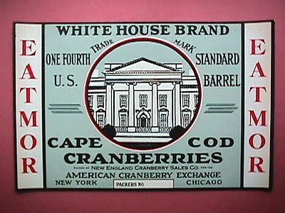 White House Brand 1/4 Bbl Collectible Cape Cod Cranberry Label Advertising