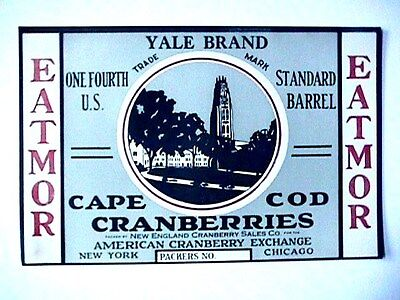 Yale Brand 1/4 Bbl Collectible Cape Cod Cranberry Label Advertising