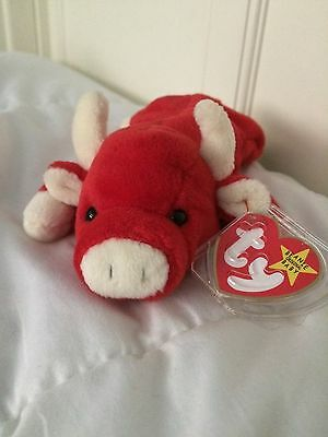 Ty Beanie Baby, SNORT The Bull, Retired and VERY RARE with tag errors!
