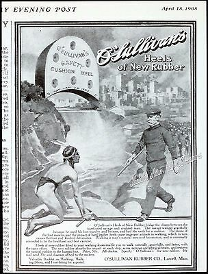 1908 O'SULLIVAN'S Shoe HEELS Early American to Industrial Age PRINT AD