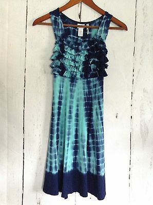Justice Long Cotton Sundress Blue Tye Dye Dress Summer Sleeveless Girls sz 7