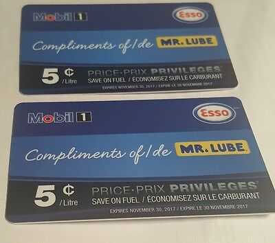 2 x Esso Price Privileges Card - Save $0.05/litre for 100 litres!