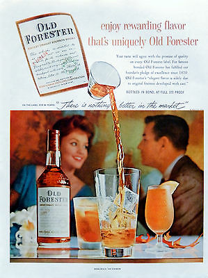 Vintage 1959 Old Forester Kentucky Bourbon Whisky advertisement print ad
