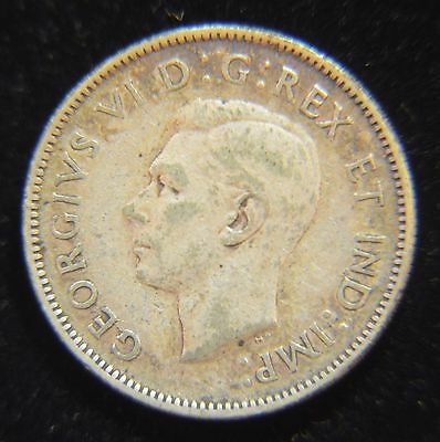 1943 Canadian 25 Cent Silver George VI Quarter