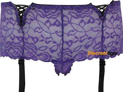 Purple Hipster Style Briefs With Built In Adjustable Garter Straps Sizes 8 to 22