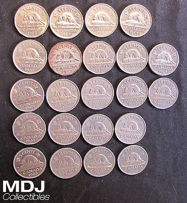 Lot of 22 Canada 5 Cents Coins - 1953, 1960, 2x 1961, 1962, 2x 1963, 3x 1964, 6x