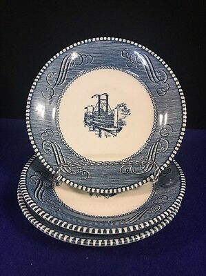 Currier & Ives Blue by Royal Saucers For Flat Cups 6 Inches-Lot of 3