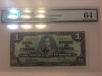 1937 $1 Canadian Bank Note BC-21c PMG 64 Choice Uncirculated EPQ
