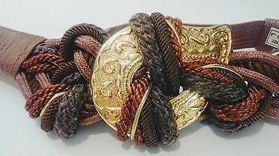 VTG 80s GLAM Knotted Braided Ropes Stretch BELT w/ Large Gold Paisley Medallion