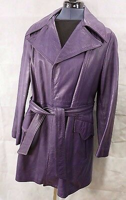 Vintage Womens Leather Purple Mid Length Trench Coat / Jacket Size M 1970s